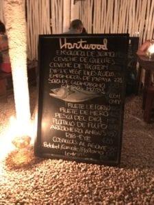 Hartwood Tulum menu