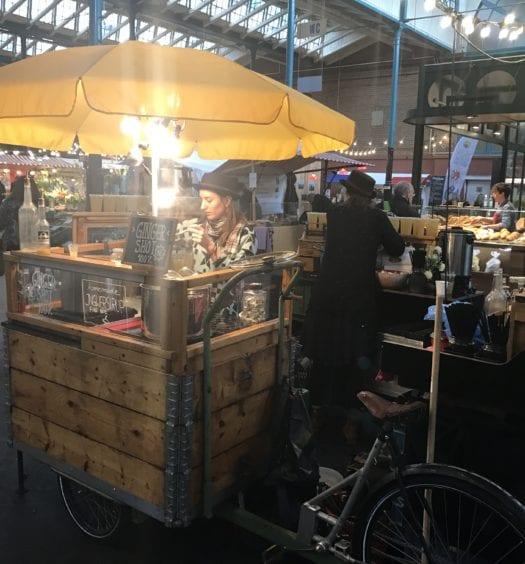 Stall selling fresh ginger shots