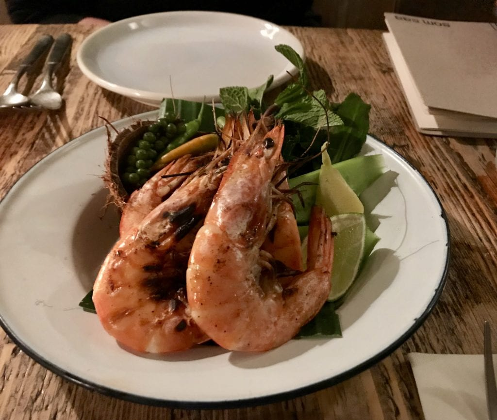 Grilled prawns with coconut marinade at Som Saa